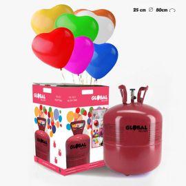 Bouteille Hélium Grande avec 50 Ballons Coeurs