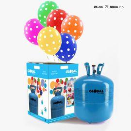 Petite Bouteille d'Hélium avec 30 Ballons à Pois
