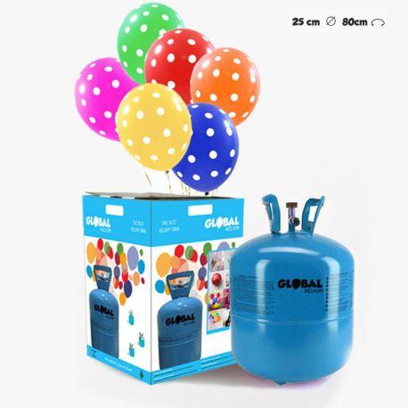 Bouteille d'Hélium Petite avec 30 Ballons à Pois