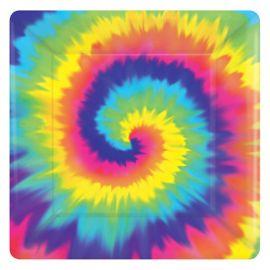 8 Assiettes Hippie Carrés 18 cm