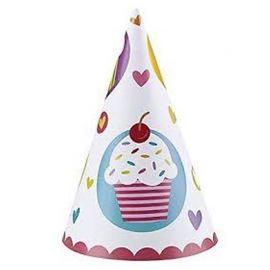 6 Chapeaux Cupcake de forme Conique
