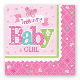 16 Serviettes Welcome Baby Girl 33 cm