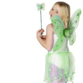 Ailes de Papillon Vertes avec Baguette pour Fille
