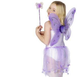 Ailes de Papillon Lilas avec Baguette pour Fille