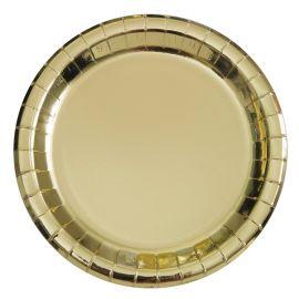 8 Assiettes Metallisées 23 cm