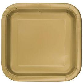16 Assiettes Lisses Carrées 18 cm