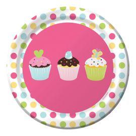 8 Assiettes Cupcake 18 cm