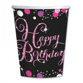 8 Gobelets Happy Birthday Chic Pink 266 mL
