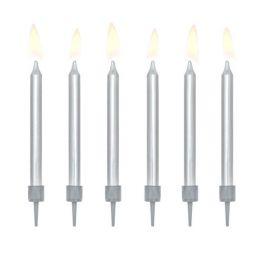 6 Bougies pour Anniversaire Metallisées
