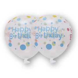 6 Ballons Transparents Happy Birthday 30 cm