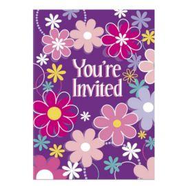 8 Invitations avec Fleurs