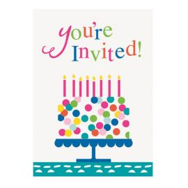 8 Invitations Pastels avec Confettis