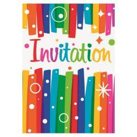 8 Invitations Colorées