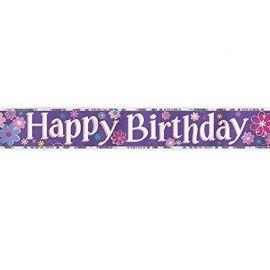 Pancarte Happy Brithday Fleurs 3,6 m