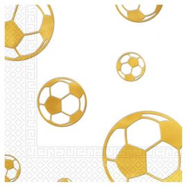 15 Serviettes Football Gold en Relief