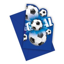 6 Invitations Football Goal