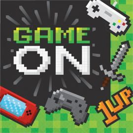 16 Serviettes Jeux-vidéos 33 cm