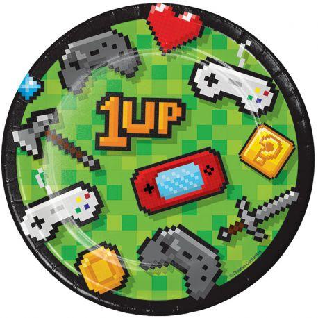 8 Assiettes Jeux-vidéos 18 cm