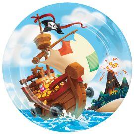 8 Assiettes Trésor Pirate 23 cm