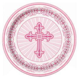 8 Assiettes Communion Croix Rose 23 cm