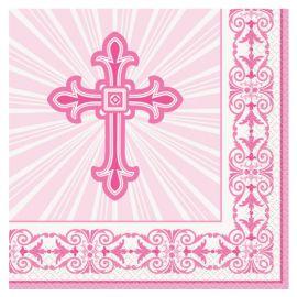 16 Serviettes Communion Croix Rose 33 cm