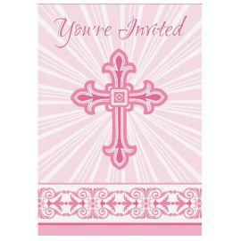 8 Invitations Communion Croix Rose
