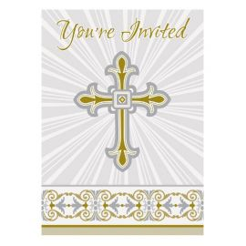 8 Invitaciones Comunión Cruz Oro y Plata