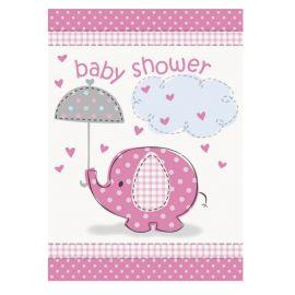8 Invitations Baby Shower Éléphant Fille