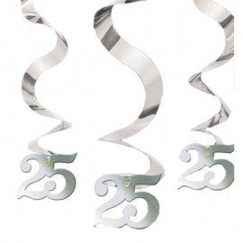 5 Colgantes Forma Espiral Bodas de Plata
