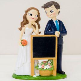 Figurine de Mariés avec Ardoise