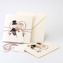 24 Faire-Parts de Mariage Pit & Pita avec Enveloppe, Cordon et Carte