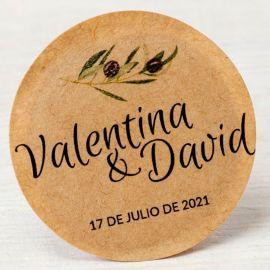 120 Étiquettes Adhésives Kraft Rameau d'Olivier