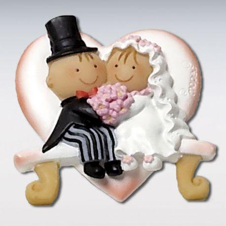 12 Magnets Mariés sur un Banc Coeur 5 cm