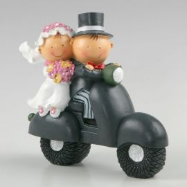 Figurine de Mariés et Tirelire avec Mariés sur une Moto