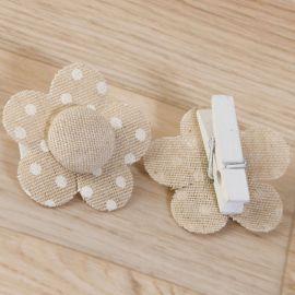 6 Pinces Fleur à Pois 4,5 cm x 4,5 cm