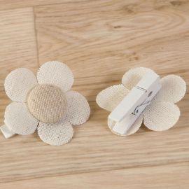 6 Pinces Fleur Uni 4,5 cm x 4,5 cm