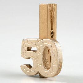 5 Pinces à Linge Argentée 50 ans de Mariage