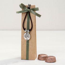 Bracelet avec Médaille Arbre / Life is a Gift avec 2 Chocolats