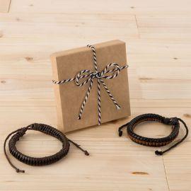2 Bracelets Tressés Bicolore avec Boîte Ornée