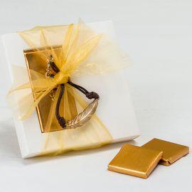 Étui avec Bracelet Plume de Métal et 2 Chocolats