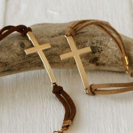 4 Bracelets Croix Dorées Assortis Beige et Marron