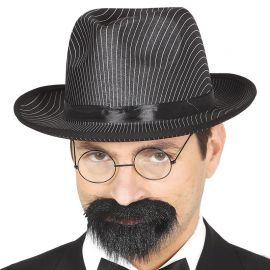 Chapeau de Gangster avec Rayures Blanches