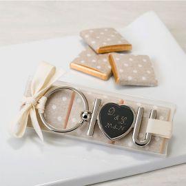 Porte-Clés Metallique I Love U avec 3 Chocolats