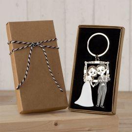 Porte-Clés Mariés Photocall avec Boîte Décorée