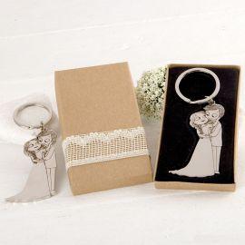 Porte-Clés Mariés Caresses avec Boîte Décorée