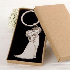 Porte-Clés Mariés Caresses avec Boîte