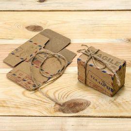 25 Boîtes Air Mail avec Cordon Rustique 6 cm x 4,5 cm