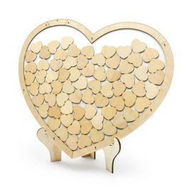 Livre d'Or en Forme de Coeur en Bois