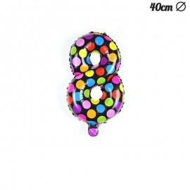 Ballon 8 Mylar à Pois 40 cm