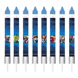 8 Bougies en forme de Bâton Avengers 9 cm